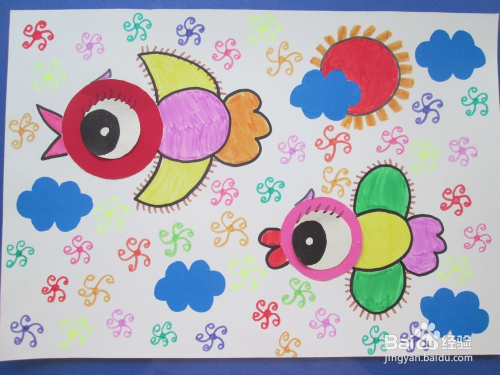 幼儿创意美术《麻雀学飞》图片
