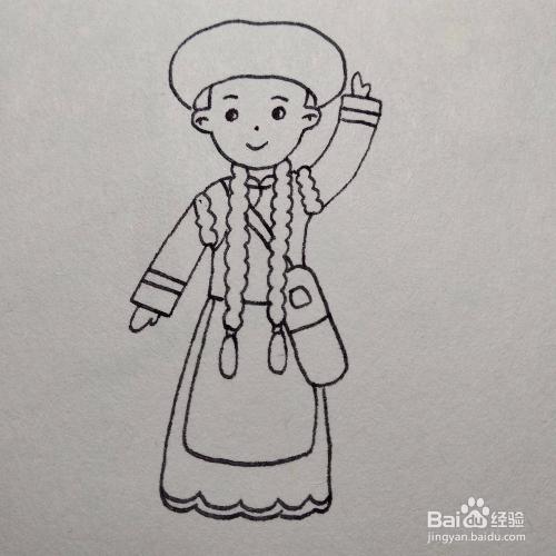 少数民族服饰简笔画-如何画普米族卡通儿童画