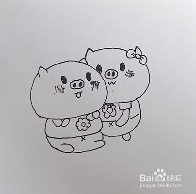两只可爱的小猪简笔画如何画?图片