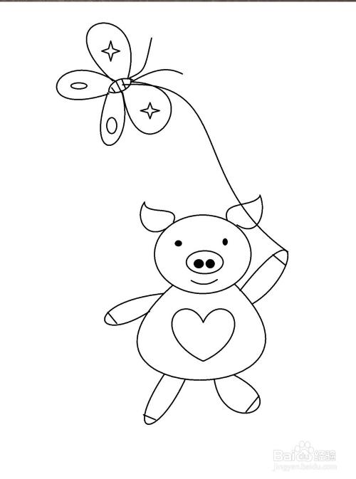 放风筝小猪的简笔画方法