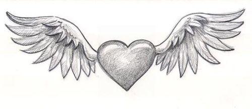 手工画怎样用彩色铅笔画一幅带翅膀的心