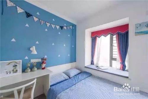 淡蓝色家具配墙面国内景观设计图片