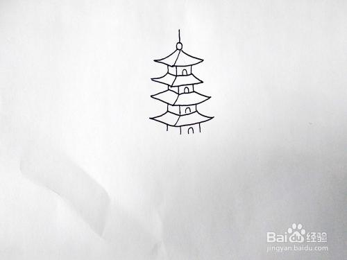 怎么画杭州西湖边的雷峰塔?如何画雷峰塔简笔画图片