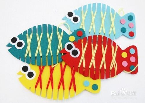 幼兒園自制手工玩教具:纏線魚圖片