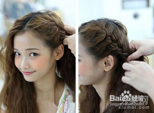 时尚韩国编发发型,3种辫子盘发扎法图片