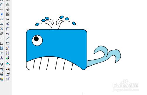 用制图软件画矩形鲸鱼的简笔画_百度经验图片