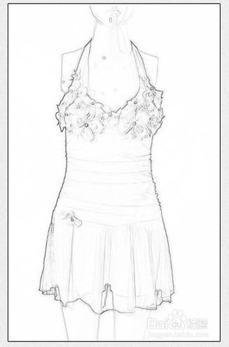 淘宝天猫衣服模特照片如何用ps做出手画线稿效果图片