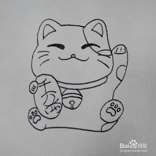 肉肉简笔画_如何画一只坐在地上的招财猫卡通简笔画