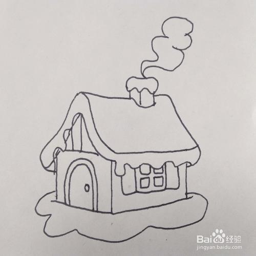 怎么画冬天下雪的小房子松鼠风景的简笔画?