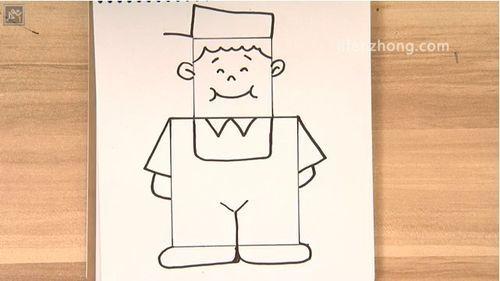 正方形简笔画之背带裤男孩图片