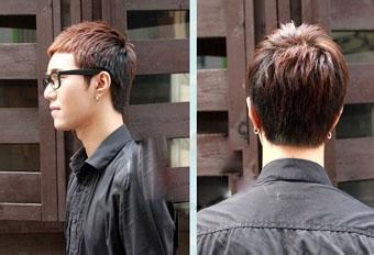 两边和后部头发向上轧剪,构成天然坡差层次,整个发型,线条柔软,发丝天图片