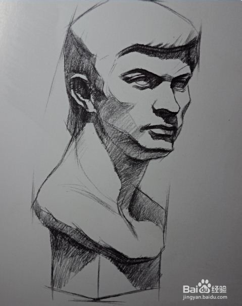 素描石膏罗马青年侧面的画法图片