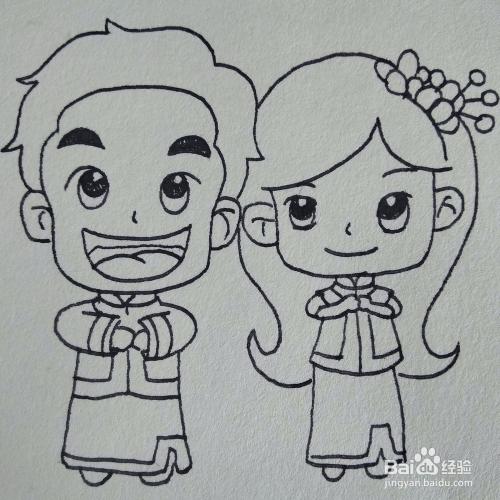 如何画一对结婚穿着婚纱礼服的新人卡通简笔画