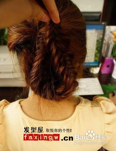 简单时尚韩式编发盘发发型步骤图片