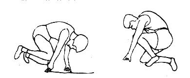 1 各就位:从预备线三公尺处走到起跑架前做半蹲姿势,双手按在起跑线图片