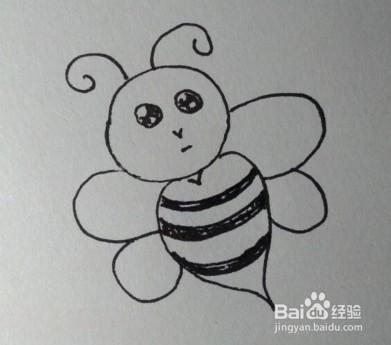 儿童简笔画教程:教你一步一步画一只小蜜蜂图片
