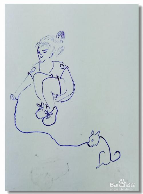 """怎样画简笔画""""遛小狗的女孩""""?图片"""
