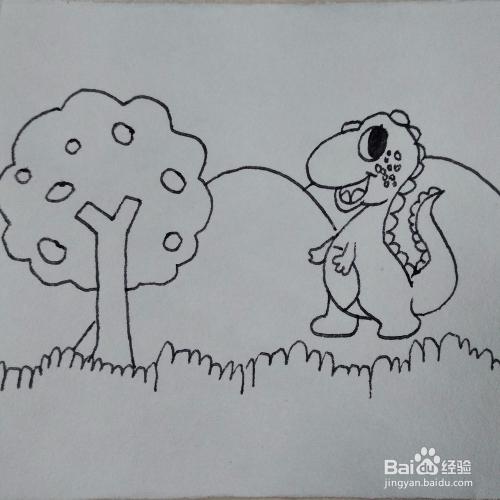如何画一只在山里玩耍的卡通恐龙儿童简笔画教程图片