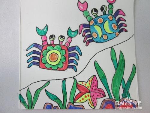 幼儿水彩笔画《沙滩上的螃蟹》的作画步骤图片