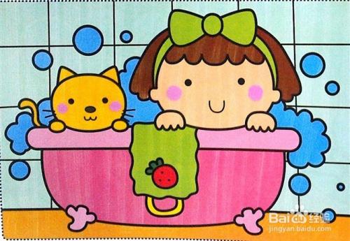 > 学龄前教育  1 我会先给孩子看一张完整的儿童画,对他而言很复杂的图片