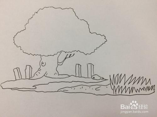 儿童风景画:河边大树的画法