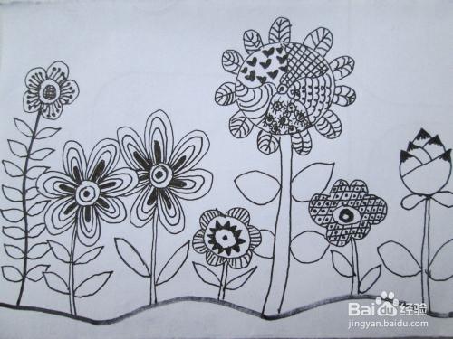 黑白线描画《花园》的作画步骤图片