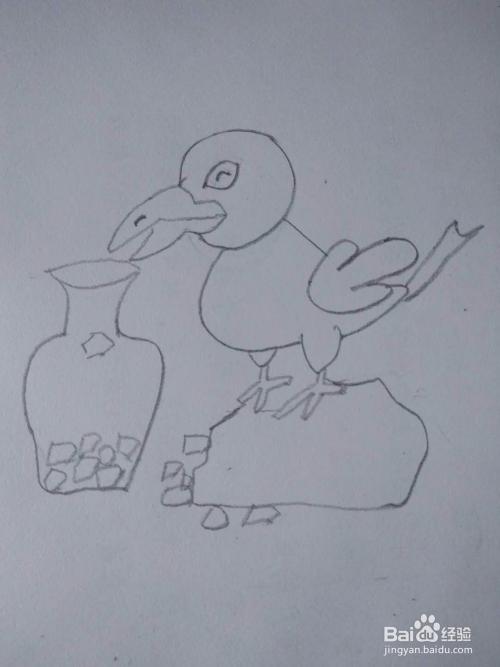 如何画乌鸦喝水的简笔画?图片
