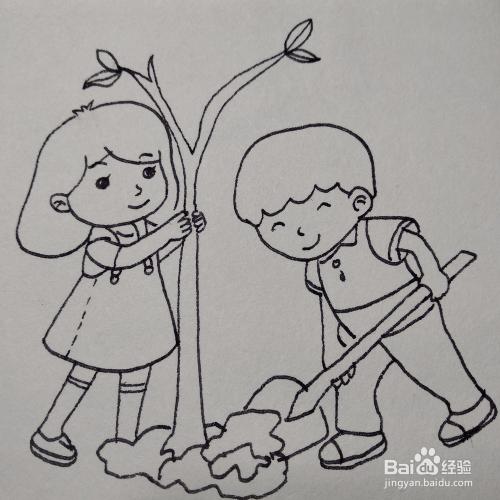 怎么画两个在植树的小学生-植树节插画简笔画图片