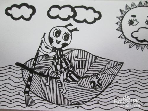 幼儿黑白线描画《小蚂蚁过河》图片