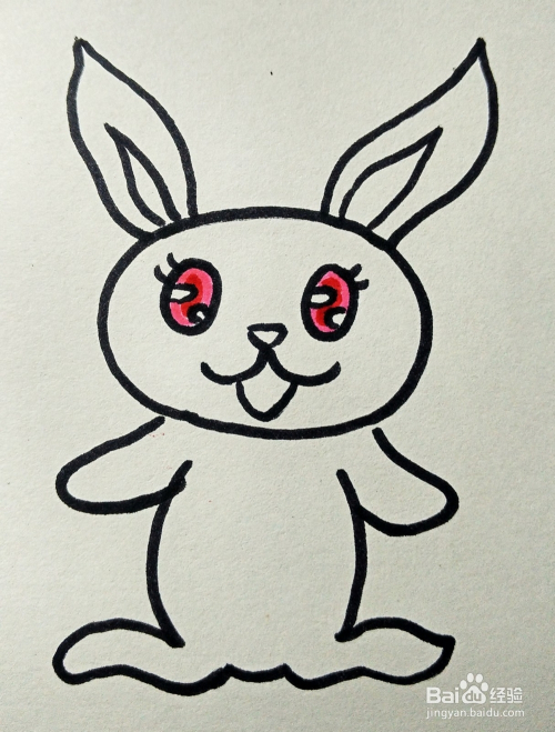 儿童简笔画:可爱兔子的画法图片