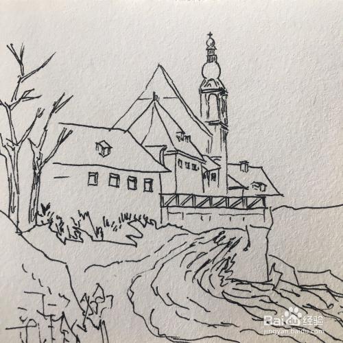 风景速写漂亮的欧洲小镇怎么画?