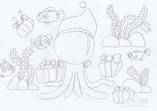 简恐龙圣诞章鱼笔画鱼为什么总往水上游图片