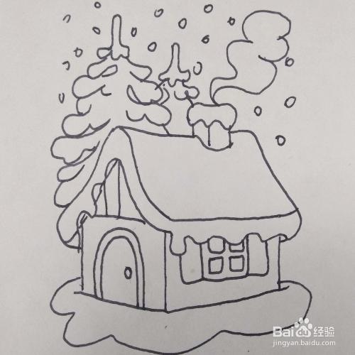 怎么畫冬天下雪的小房子松鼠風景的簡筆畫?