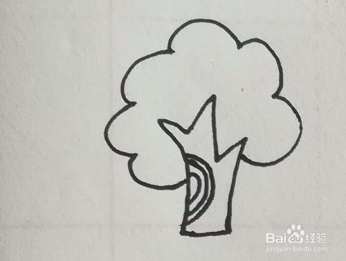 果树,草丛,小鸟组合简笔画怎么画?图片