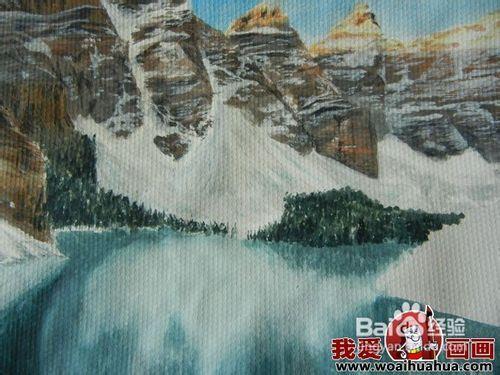 水粉风景画绘画步骤图文教程:雪山蓝天和湖水_百度经验
