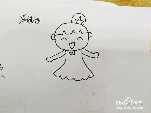 如下图 2 然后我们来画布娃娃的头发上的小辫子.