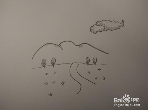 一分钟简笔画—跟我一起画乡间小道图片
