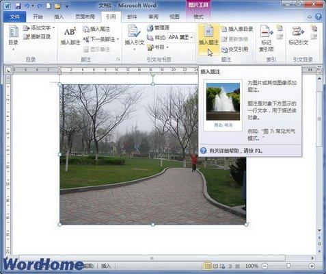 怎样在word2010文档中添加图片题注