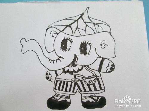 黑白线描画《大象种白菜》的作画步骤