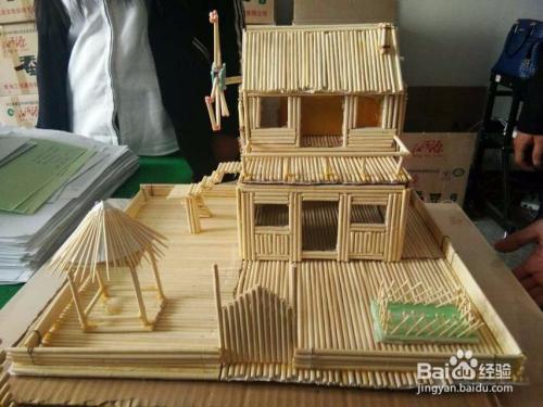 性筷子不但可以方便我们吃饭,还可以制作成精美的建筑物模型,比如别墅