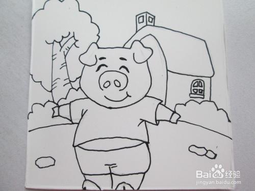幼儿水彩笔画《小猪家的菜园》图片