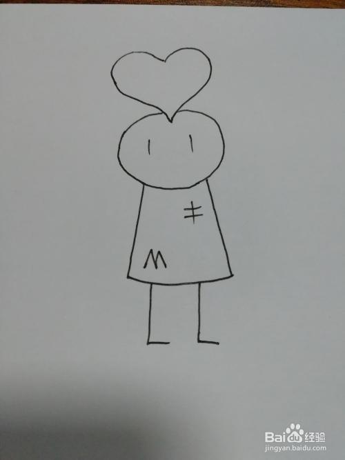 如下图: 5 然后我们在小人的衣服上画上几个字母,让小人的衣服更加图片
