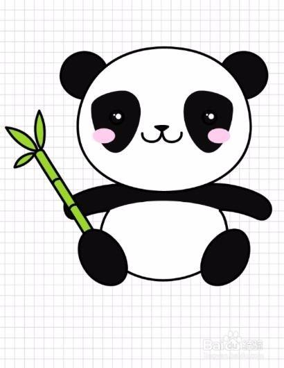 12 第十二步,涂鸦后,这个熊猫就画好了,看看自己画的如何吧 end图片