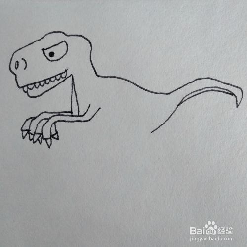 如何画红蓝机里的霸王龙恐龙简笔画图片