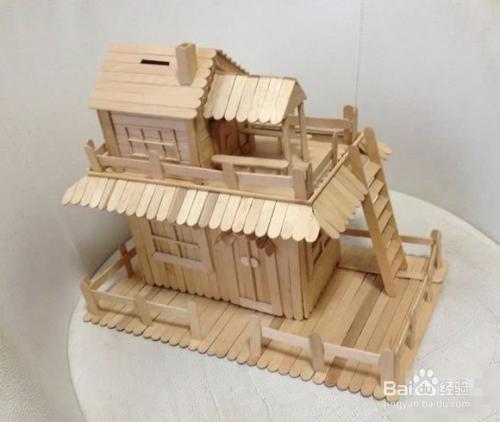 雪糕棒diy两层楼房屋模型 雪糕棍房子制作教程