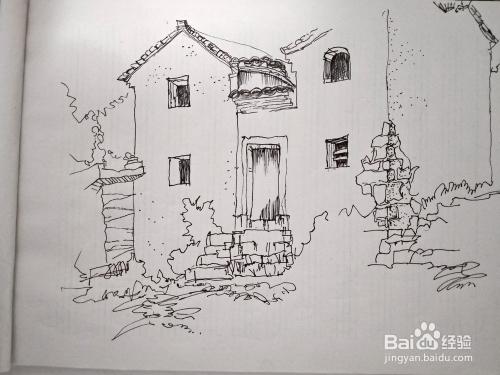 画老房子建筑风景速写步骤?