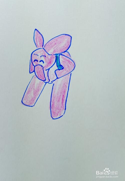 4 用水彩笔涂出大象的头部色彩.