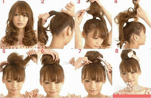简单时尚的各种盘头发包包头扎法图片