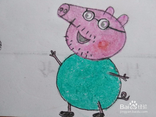适合宝宝的简笔画小猪佩奇的爸爸猪爸爸的画法图片