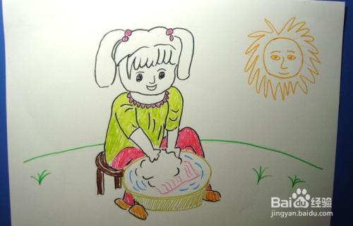 儿童简笔画之洗衣服的女孩图片
